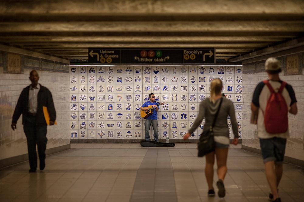NYC Subways.  Musician at Canal Street