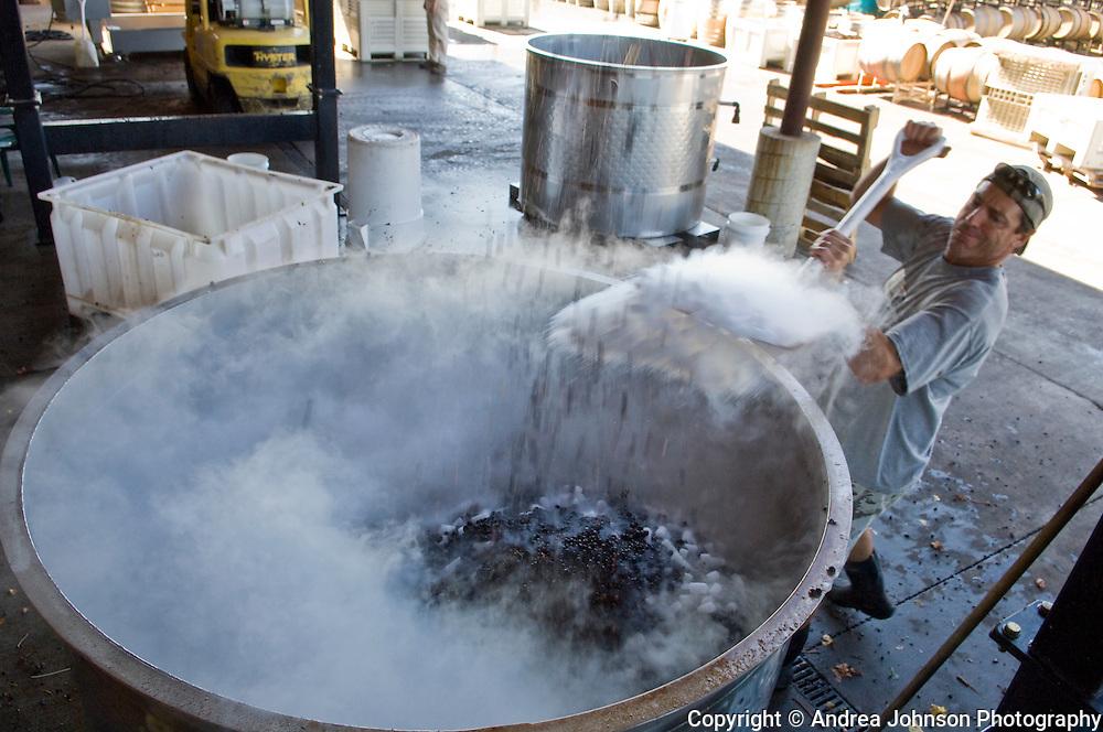 Paul de Lancellotti shoveling dry ice into a fermentation tank of pinot noir grapes