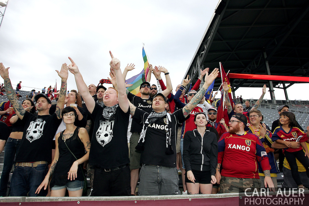 August 3rd, 2013 - Real Salt Lake fans cheer prior to the start of the Major League Soccer match between Real Salt Lake and the Colorado Rapids at Dick's Sporting Goods Park in Commerce City, CO