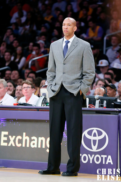 07 December 2014: New Orleans Pelicans head coach Monty Williams is seen during the New Orleans Pelicans 104-87 victory over the Los Angeles Lakers, at the Staples Center, Los Angeles, California, USA.