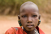 TANZANIA. Longido Mountain Area..August 3rd 2009..A young Maasai women..