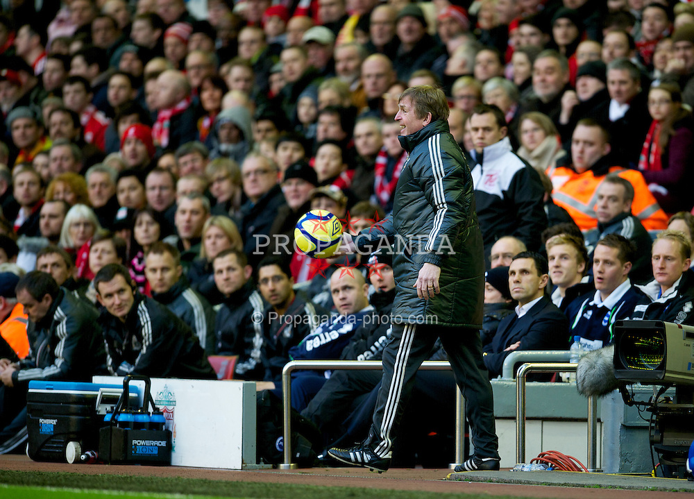 LIVERPOOL, ENGLAND - Saturday, February 19, 2012: Liverpool's manager Kenny Dalglish during the FA Cup 5th Round match against Brighton & Hove Albion at Anfield. (Pic by David Rawcliffe/Propaganda)