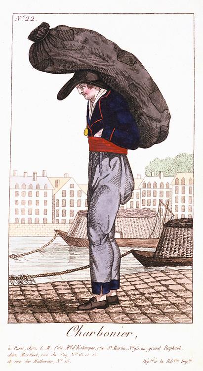 Paris Coalman, with barge on the Seine in background. From 'Arts, Metiers et Cris de Paris' Paris, 1826. Coloured engraving.