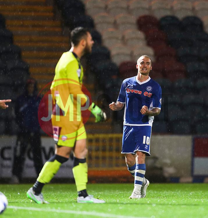 Lewis Alessandra of Rochdale celebrates after scoring the winning goal, 2-1  - Mandatory byline: Matt McNulty/JMP - 07966 386802 - 06/10/2015 - FOOTBALL - Spotland Stadium - Rochdale, England - Rochdale v Chesterfield - Johnstones Paint Trophy