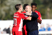 Accrington Stanley Manager  John Coleman celebrates with Sean McConville  during the EFL Sky Bet League 2 match between Accrington Stanley and Portsmouth at the Fraser Eagle Stadium, Accrington, England on 17 September 2016. Photo by Craig Galloway.