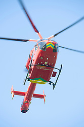 ©Licensed to London News Pictures 26/06/2020 Orpington, UK. London Air Ambulance on scene. Coronavirus lockdown is over and crime is back on our streets. A gang of six youths on bikes have attacked a man in Orpington,South East London this afternoon. Police, paramedics and the London Air Ambulance attended the scene to find a man with head injuries and covered in blood. Photo credit: Grant Falvey/LNP