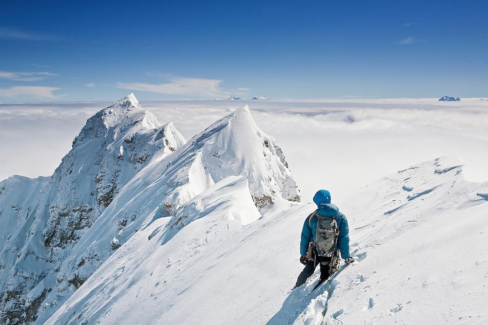 Mountaineer on Jubiläumsgrat, Zugspitze