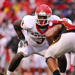 Sep 26, 2009; College Park, MD, USA; Rutgers tight end Shamar Graves (3) sets up to block for an extra point during the second half of Rutgers' 34-13 victory over Maryland in NCAA college football at Byrd Stadium.