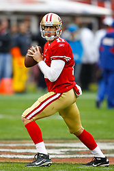 Jan 22, 2012; San Francisco, CA, USA; San Francisco 49ers quarterback Alex Smith (11) warms up before the 2011 NFC Championship game against the New York Giants at Candlestick Park.  Mandatory Credit: Jason O. Watson-US PRESSWIRE