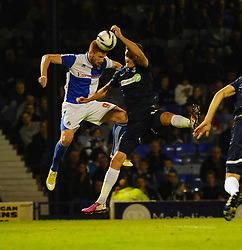 Bristol Rovers' Matt Harrold header appears to strike a Southend defender's hand but nothing is given - Photo mandatory by-line: Seb Daly/JMP - Tel: Mobile: 07966 386802 27/09/2013 - SPORT - FOOTBALL - Roots Hall - Southend - Southend United V Bristol Rovers - Sky Bet League Two