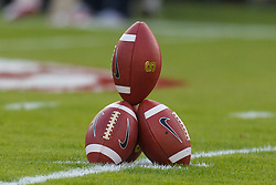 Nov 12, 2011; Stanford CA, USA; Detailed view of a pile of footballs stacked upon each other on the field before the game between the Stanford Cardinal and the Oregon Ducks at Stanford Stadium.  Oregon defeated Stanford 53-30. Mandatory Credit: Jason O. Watson-US PRESSWIRE