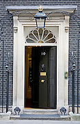 An open door at number 10 Downing Street, London. Home of the British Prime Minister.