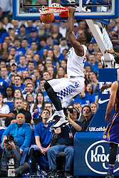 Kentucky forward Alex Poythress slams down two points in the second half. <br /> <br /> The University of Kentucky hosted the LSU Tigers, Saturday, March 05, 2016 at Rupp Arena in Lexington .