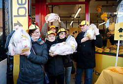 Repro Free: 05/12/2012.Terri Deegan, Susanne Quinn, Andrew Carroll, Sarah Hogan and  James Gillespie are pictured as as Betfair gave away 150 free turkeys to members of the public as part of their ?Beat the Budget? campaign. Pic Andres Poveda.