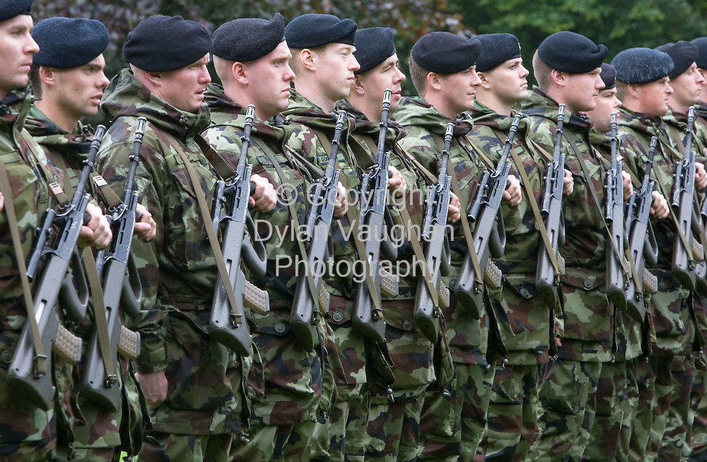10/9/2008.Members of the 98th Infantry Battalion bound for  overseas service in Chad pictured in the Castle Park in Kilkenny at the Ministerial Review of Troops Bound for Chad..Picture Dylan Vaughan.
