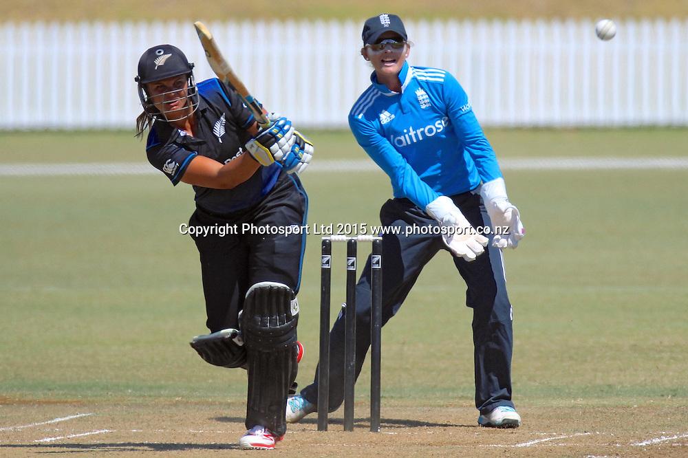 Sarah Bates of NZ batting. New Zealand White Ferns v England - 3rd ODI at Bay Oval, Mount Maunganui, New Zealand. 15 February 2015. Photo credit: Margot Butcher/www.photosport.co.nz