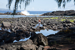 Hilo, Hawaii: A snorkeler rmakes his way at low tide to the protected waters of Richardson Ocean Park.   Five miles east of town via Kalaniana'ole Ave, this public paradise offers good snorkeling, with lovely palm trees and resident green turtles to add to its charms.