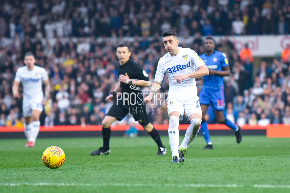 Pablo Hernandez of Leeds United (19) passes the ball during the EFL Sky Bet Championship match between Leeds United and Bolton Wanderers at Elland Road, Leeds, England on 23 February 2019.