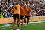 Dave Edwards celebrates goal with James Henry and Adam Le Fondre during the Sky Bet Championship match between Wolverhampton Wanderers and Charlton Athletic at Molineux, Wolverhampton, England on 29 August 2015. Photo by Alan Franklin.