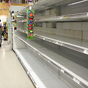 Shelves quickly empty and water is hard to find as Floridians gather supplies Wednesday October 5, 2016, as they get ready for the arrival of Hurricane Matthew. Warnings are in place along much of Florida's Atlantic coastline, for Category 3 Hurricane Matthew.<br />