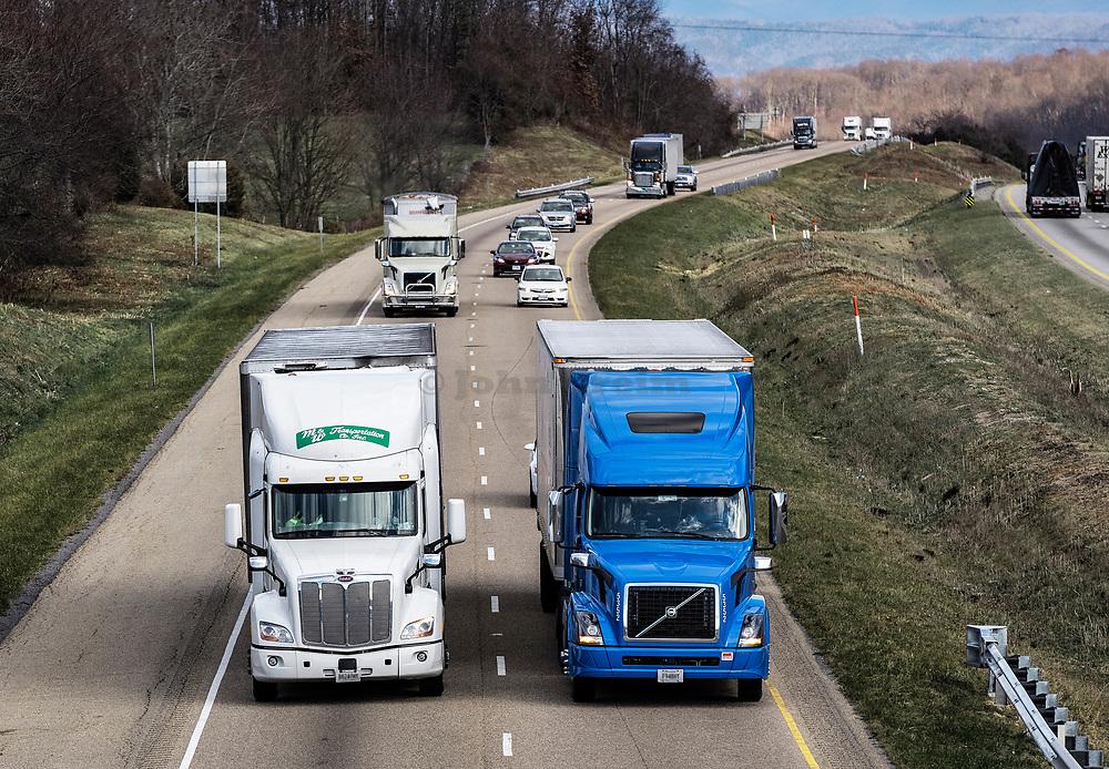 Semi trucks dominate the hi-way.