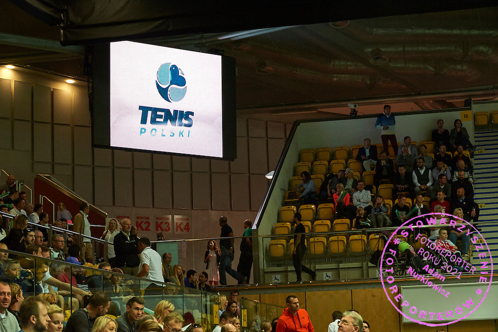 Tens Polski advertise on display board during Davis Cup Tie World Group Play-off Poland v Slovakia at Gdynia Arena Hall in Gdynia, Poland.<br /> <br /> Poland, Gdynia, September 20, 2015<br /> <br /> Picture also available in RAW (NEF) or TIFF format on special request.<br /> <br /> For editorial use only. Any commercial or promotional use requires permission.<br /> <br /> Adam Nurkiewicz declares that he has no rights to the image of people at the photographs of his authorship.<br /> <br /> Mandatory credit:<br /> Photo by &copy; Adam Nurkiewicz / Mediasport