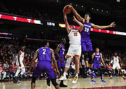 Nov 8, 2019; Los Angeles, CA, USA; Portland Pilots guard Takiula Fahrensohn (20) blocks a shot by Southern California Trojans guard Quinton Adlesh (10) in the second half at Galen Center USC defeated Portland State 76-65.
