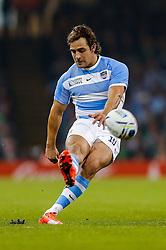 Argentina Fly-Half Nicolas Sanchez kicks a conversion - Mandatory byline: Rogan Thomson/JMP - 07966 386802 - 18/10/2015 - RUGBY UNION - Millennium Stadium - Cardiff, Wales - Ireland v Argentina - Rugby World Cup 2015 Quarter Finals.