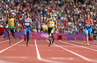 From left: Rusheen McDonald, of Jamaica, Luguelin Santos, of the Dominican Republic, Oscar Pistorius, of South Africa, and Maksim Dyldin, of Russisa, race in the men's 400-meter track competition at the 2012 Summer Olympic Games in London, Aug. 4, 2012. Pistorius finished second in heat 1. (Jed Jacobsohn/The New York Times)