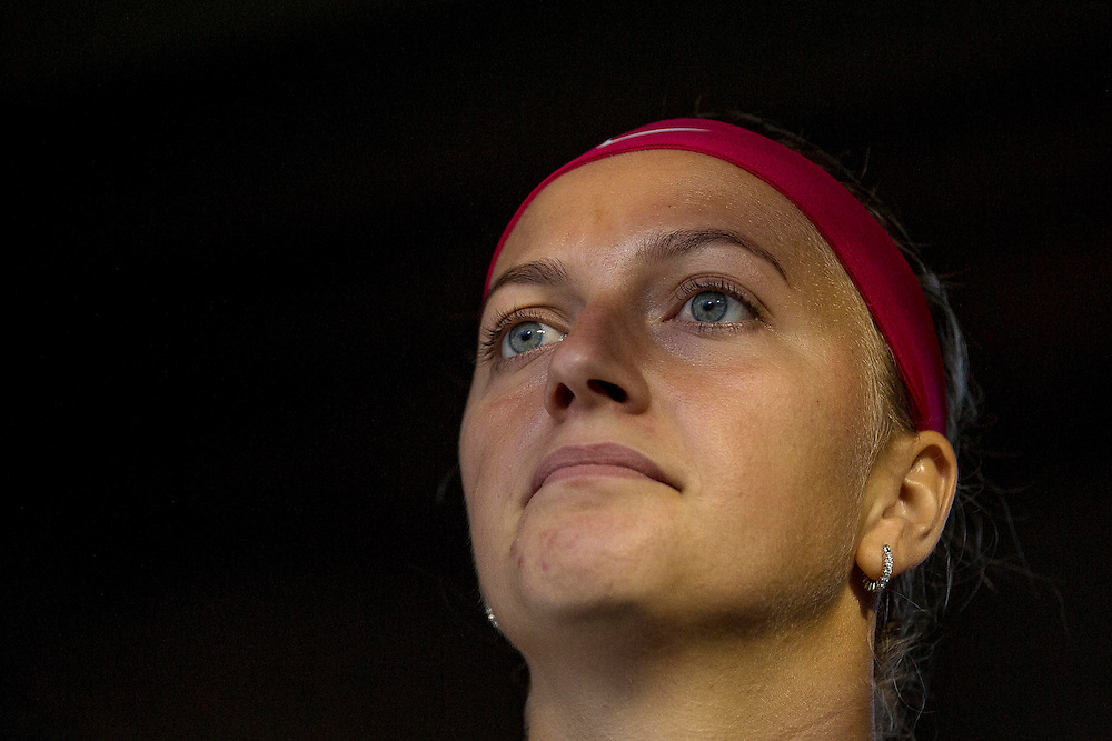 August 22, 2014, New Haven, CT:<br /> Petra Kvitova looks on from the tunnel before the semi-final match against Samantha Stosur on day eight of the 2014 Connecticut Open at the Yale University Tennis Center in New Haven, Connecticut Friday, August 22, 2014.<br /> (Photo by Billie Weiss/Connecticut Open)