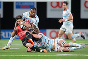 Hugo Bonneval (Rugby Club Toulonnais) catched by Baptiste Chouzenoux (Racing 92) and Virimi Vakatawa (Racing 92) during the French Championship Top 14 Rugby Union match between Racing 92 and RC Toulon on April 8, 2018 at U Arena in Nanterre, France - Photo Stephane Allaman / ProSportsImages / DPPI