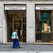 Via Montenapoleone, rue de la mode au centre de Milan, pendant la semaine de la mode