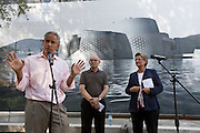 "12th Biennale of Architecture. Giardini. Austrian Pavillion. Group exhibition ""Austria Under Construction: Austrian Architecture Around the World; International Architecture in Austria"". From l: Commissioner Eric Owen Moss; Peter Menasse; Dr. Claudia Schmied, Austrian Federal Minister for Education, Arts and Culture."