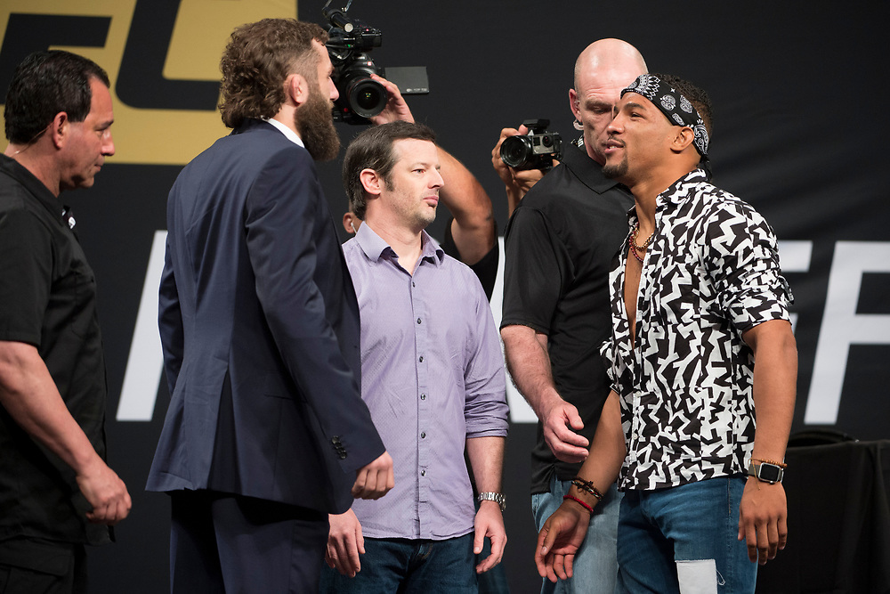 DALLAS, TX - MAY 12:  Michael Chiesa faces off with Kevin Lee during the UFC Summer Kickoff Press Conference at the American Airlines Center on May 12, 2017 in Dallas, Texas. (Photo by Cooper Neill/Zuffa LLC/Zuffa LLC via Getty Images) ***Local Caption***  Michael Chiesa; Kevin Lee