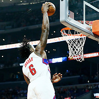 07 November 2016: Los Angeles Clippers center DeAndre Jordan (6) goes for the dunk during the LA Clippers 114-82 victory over the Detroit Pistons, at the Staples Center, Los Angeles, California, USA.