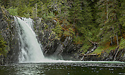 Waterfall in sheltered cove in Prince William Sound, AK