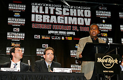 December 4, 2007; New York, NY, USA;  Emmanuel Steward, trainer of Wladimir Klitschko, speaks at the press conference announcing the February 23, 2008 unification fight between IBF/IBO Heavyweight Champion Wladimir Klitschko (l) and WBO Heavyweight Champion Sultan Ibragimov (not shown).  The two fighters will meet at Madison Square Garden.