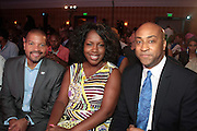 Miami Beach, Florida, NY-June 23: (L-R) Don Butler. VP, Marketing, Cadillac, Jocelyn Allen, Cadillac, and Marc Pitts, President & CEO, Gold Peak attend the 2012 American Black Film Festival Winners Circle Awards Presentation held at the Ritz Carlton Hotel on June 23, 2012 in Miami Beach, Florida (Photo by Terrence Jennings)