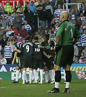 Photo: Lee Earle.<br /> Reading v Chelsea. The Barclays Premiership. 14/10/2006. Reading keeper Marcus Hahnemann (R) looks dejected as Chelsea celebrate their first goal.