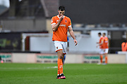 Ben Heneghan (6) of Blackpool walks off dejected after being shown a red card, sent off during the EFL Sky Bet League 1 match between Bristol Rovers and Blackpool at the Memorial Stadium, Bristol, England on 15 February 2020.
