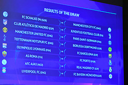 NYON, SWITZERLAND - Monday, December 17, 2018: The full fixtures shown on a screen after the draw for the UEFA Champions League 2018/19 Round of 16 at the UEFA House of European Football. (Handout by UEFA)