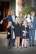 9-11-2014 - APELDOORN -  Doop Christening of Willem Jan ( 01-07-2013), son of Prince Floris and Princess Aimee, with daughters Magali and Eliane at Palace Het Loo in Apeldoorn.<br /> King Willem-Alexander and Queen Maxima and Princess Amalia and Princess Alexia and Princess Ariane arrive for the ceremony.   Arrival of king Willem alexander and queen Maxima and princess Amalia , Ariane and Alexia for the baptism of Willem Jan the child of princess Aimee and princes Floris .  COPYRIGHT ROBIN UTRECHT