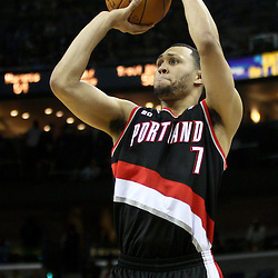 March 30, 2011; New Orleans, LA, USA; Portland Trail Blazers shooting guard Brandon Roy (7) against the New Orleans Hornets during the fourth quarter at the New Orleans Arena. The Hornets defeated the Trail Blazers 95-91.   Mandatory Credit: Derick E. Hingle