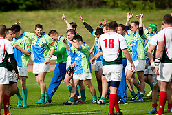 Players of Slovenia celebrate victory during rugby match between National team of Slovenia (green) and Bulgaria (white) at EUROPEAN NATIONS CUP 2012-2014 of C group 2nd division, on April 12, 2014, at ZAK Stadium, Ljubljana, Slovenia. (Photo by Matic Klansek Velej / Sportida.com)