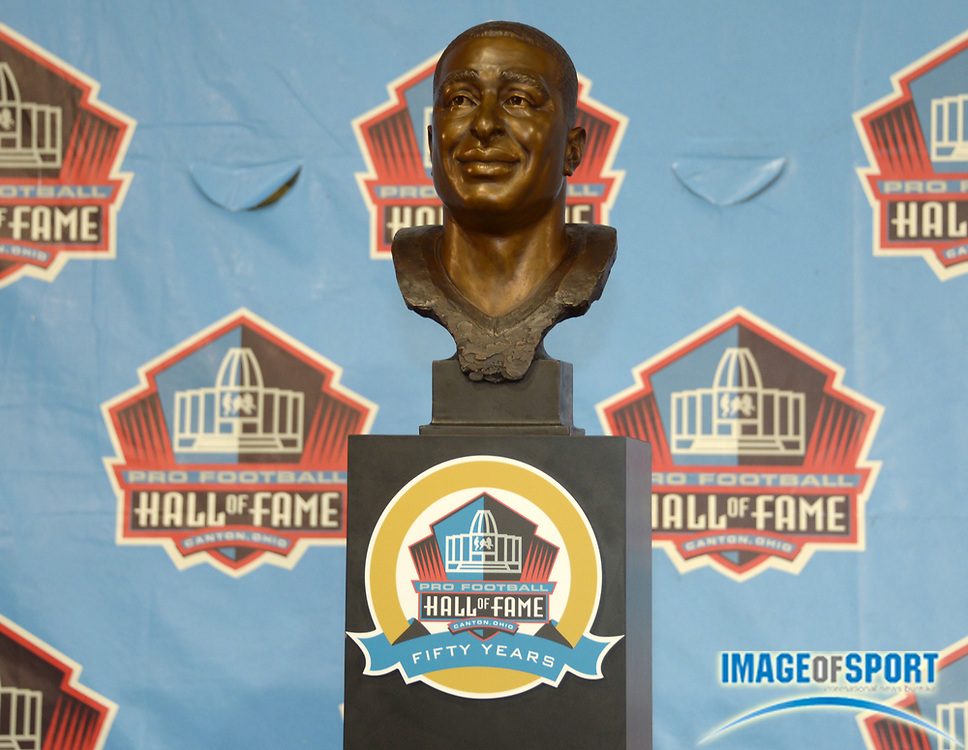 Aug 3, 2013; Canton, OH, USA; General view of the bust of Cris Carter at the 2013 Pro Football Hall of Fame Enshrinement at Fawcett Stadium.