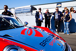 Bristol Sport Owner Steve Lansdown visits Dino Zamparelli  on the grid | Bristol Sport Racing | #88 Porsche 911 GT3 Cup Car | Porsche Carrera Cup GB | Race 2 - Mandatory byline: Rogan Thomson/JMP - 07966 386802 - 23/08/2015 - MOTORSPORT - Knockhill Racing Circuit - Dunfermline, Scotland - BTCC Meeting Day 2.