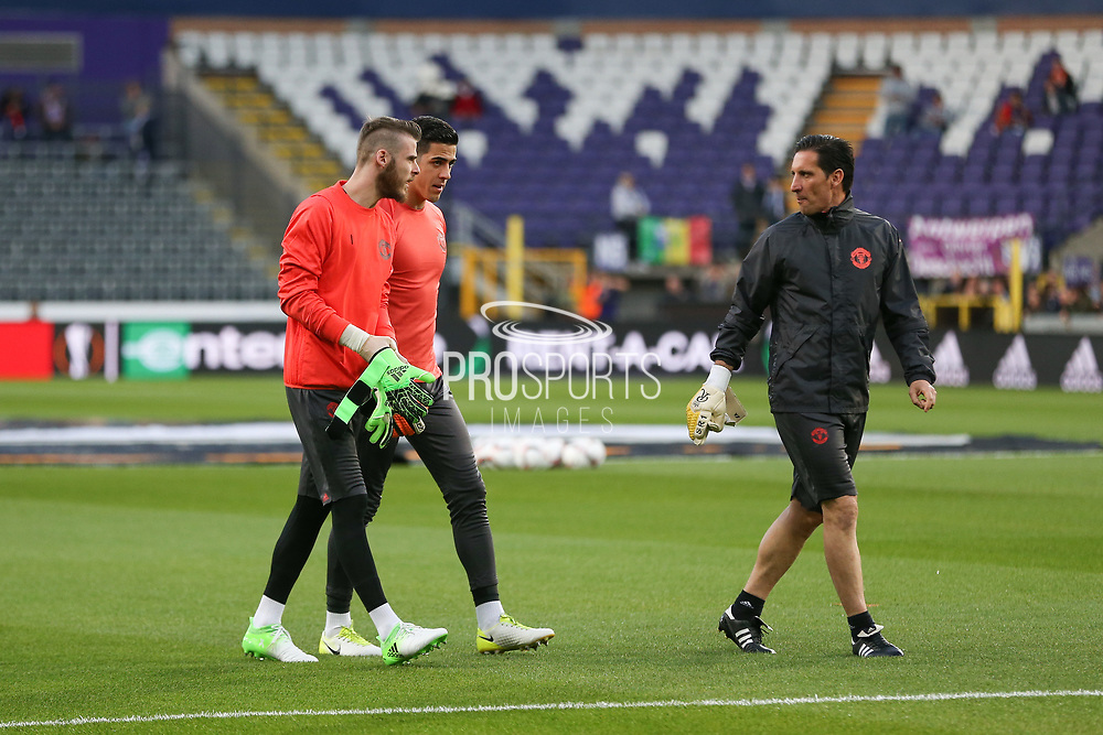David De Gea Goalkeeper of Manchester United and Joel Castro Pereira Goalkeeper of Manchester United in warm up during the UEFA Europa League Quarter-final, Game 1 match between Anderlecht and Manchester United at Constant Vanden Stock Stadium, Anderlecht, Belgium on 13 April 2017. Photo by Phil Duncan.
