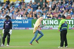 A pitch invader enters the pitch - Photo mandatory by-line: Dougie Allward/JMP - Mobile: 07966 386802 - 19/06/2015 - SPORT - Cricket - Bristol - County Ground - Gloucestershire v Somerset - Natwest T20 Blast