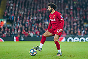 Liverpool forward Mohamed Salah (11) in action during the Champions League match between Liverpool and Napoli at Anfield, Liverpool, England on 27 November 2019.