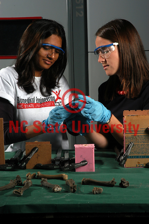 Biomedical engineering students make synthetic bones from a mold.   PHOTO BY ROGER WINSTEAD